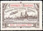 """un biplan évolue au-dessus d'une vue groupant les casinos des trois plages. """"concours d'aviation. Dunkerque-Malo-les-Bains-Rosendael. août septembre 1909"""