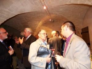Le Vin d'Honneur de l'Inauguration dans les caves du Château Le Président DESARMENIEN, Richard GROSSE, Jack LUERY et Eric CONRARD